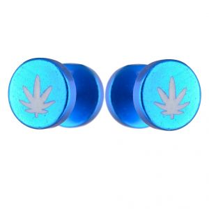 Men Style Leaf Pattern Barbell Dumbbell Ear Plugs Blue Stainless Steel Surgical Stud Earring For Men And Women (product Code -pser001018)