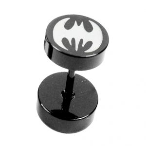 Men Style Black Dumbbell Shape Batman Fashion Stud Earring - Er12001