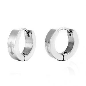 Men Style Silver Jesus Christ Cross Hoop Earring - Er12004