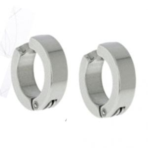 Men Style Silver Non-pireced 316l Clip On Hoop Earring - Er12008