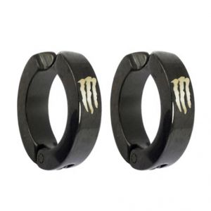 Men Style Black Monstar Inspired Hoop Earring - Er12013