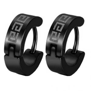 Men Style Black Unique Design Hoop Earring - Er12014
