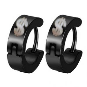 Men Style Black Dollar Shape Hoop Earring - Er12025
