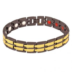 Men Style Dual Plated Magnetic Therapy Black And Gold Stainless Steel Round Bracelet For Men And Boys (product Code -psbr001026)