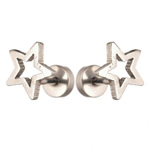 Men Style Star Shape Piercing Punk Silver Stainless Steel Surgical Stud Earring For Men And Women (product Code -pser001028)