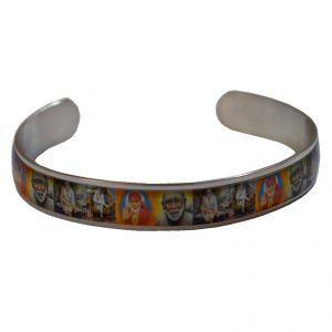 Men Style Om Sai RAM Multicolour Stainless Steel Half Round Kada For Men And Boys (product Code -ska003001)