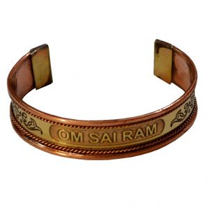 Men Style Stylish Look Om Sai RAM Half Kada Gold And Copper Copper Round Cuff Bangle For Men And Women (product Code -ska003002)