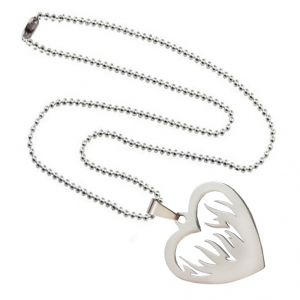 Men Style New Design Heart Diljale Lovers Cutting High Quality Silver Stainless Steel Necklace Pendant For Men And Women (product Code -spn003006)