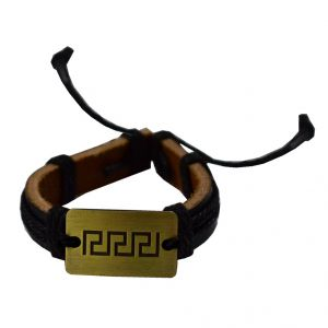 Men Style New Fashion Antique Bronze With Cotton Dori Black And Brown Leather Round Bracelet For Men And Boys (product Code -sbr003007)