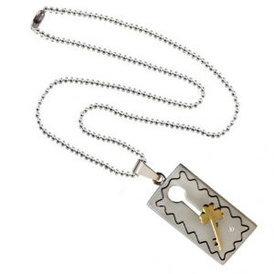Men Style Valentine Gift Key Puzzle Couple Necklace Gold And Silver Stainless Steel Square Necklace For Men And Boys (product Code -spn003010)