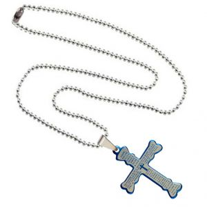 Men Style Prayer Bible Jesus Cross Plated Spn003015 Blue And Silver Stainless Steel Cross Necklace Pendant For Men And Women (product Code -spn003015)