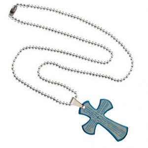 Men Style Bible Prayer Jesus Cross Plated SPn003017 Blue And Silver Stainless Steel Cross Necklace Pendant For Men And Women (Product Code -SPn003017)