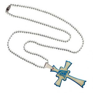 Men Style New Design Stylish Jesus Cross Plated Spn003019 Blue And Silver Stainless Steel Cross Pendant For Men And Women (product Code -spn003019)