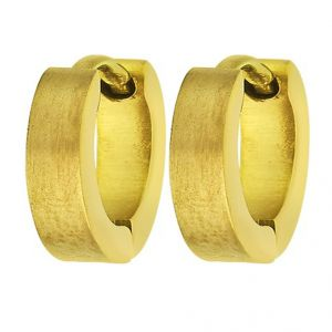 Men Style High Quality Sparkle 316 L Gold Stainless Steel Round Hoop Earring For Men And Boy - Ser03020