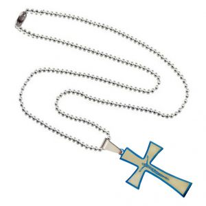 Men Style Jesus Crucifix Cross Plated SPn003020 Blue And Silver Stainless Steel Cross Necklace Pendant For Men And Women (Product Code -SPn003020)