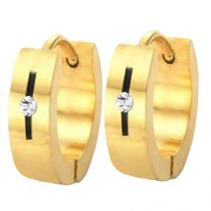 Men Style Best Quality Crystal 316l Gold Stainless Steel Round Hoop Earring For Men And Boy - Ser03023