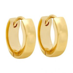 Men Style Best Quality Classic Plain 316l Gold Stainless Steel Round Hoop Earring For Men And Boy - Ser03024