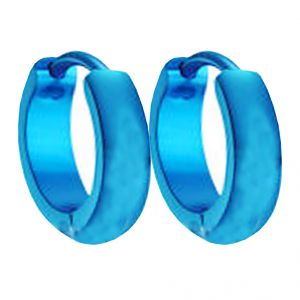 Men Style Best Quality Classic Plain Korean Made Blue Stainless Steel Round Hoop Earring For Men And Boy - Ser03027