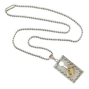 Men Style Valentine Gift Key Puzzle Couple Necklace Gold And Silver Stainless Steel Square Necklace For Men And Women (product Code -spn003030)