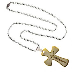 Men Style Jesus Cross With Crucifix Plated Gold Stainless Steel Cross Necklace Pendant For Men And Women (product Code -spn003043)