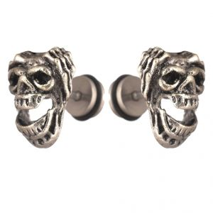 Men Style Biker Jewelry Silver Stainless Steel Surgical Stud Earring For Men And Women (product Code -pser001030)
