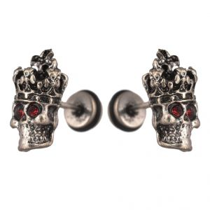 Men Style 1 Pair Punk Red Crystal Skeleton Skull Inspired Biker Jewelry Silver Stainless Steel Earring For Men And Women (product Code -pser001033)