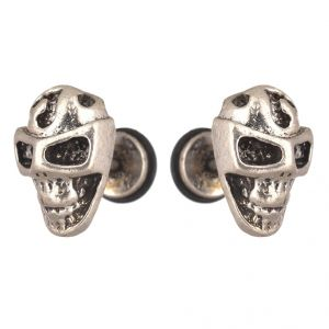 Men Style Skull Inspired Biker Jewelry Silver Stainless Steel Surgical Stud Earring For Men And Women (product Code -pser001041)