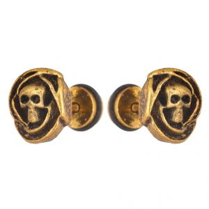 Men Style Skull Inspired Gold Stainless Steel Surgical Stud Earring For Men And Women (product Code -pser001042)