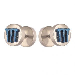 Men Style 8 MM Monster Inspired Barbell Dumbbell Silver And Blue Stainless Steel Surgical Stud Earring For Men And Women (product Code -pser001045)