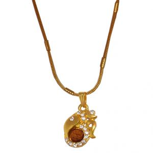 Men Style Crystal Cubic Zircon Om Ganesh Rudrasha Gold Alloy 00 Pendent For Men And Women - (code - Spn06001)