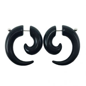 Men Style Handmade Bone Horn Expansion Spiral Fake Gauge Black Bone And Horn Piercing Stud Earring For Men And Boys (product Code - Ser06001)
