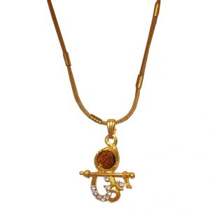 Men Style Crystal Cubic Zirconom & Krishna Rudraksh Gold Alloy 00 Pendent For Men And Women - (code - Spn06002)