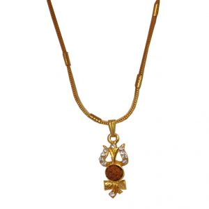 Men Style Crystal Cubic Zircontrishul And Damaru Rudraksh Gold Alloy 00 Pendent For Men And Women - (code - Spn06003)