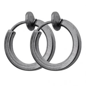 Men Style 2016 New Design Plain Grey Stainless Steel Piercing Hoop Earring For Men And Boy (product Code - Ser06005)