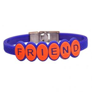 Men Style New Arrival Friendship Blue Silicon Flat Bracelet For Men And Women - (code - Sbr06008)