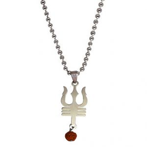 Men Style Shiv Trishul With Rudhrash Silver Stainless Steel 00 Pendent For Men And Women - (code - Spn06008)