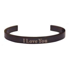 Men Style I Love You Black Alloy Half Kada For Men And Women - (code - Ska06010)