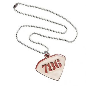Men Style 786 Design Red Silver Stainless Steel Triangle Pendent For Men And Women - (code - Spn06014)