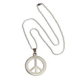Men Style Hot Selling High Polished Peace Sign Symbol Silver Stainless Steel Circle Pendent For Men And Women - (code - Spn06016)
