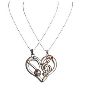 Men Style Mangnetic Silver Zinc Alloy Heart Pendent With Dual Chain Silver Zinc Alloy Heart Shape Pendent - (code - Spn06019)