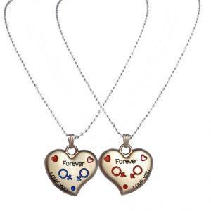 Men Style Red And Blue Zinc Alloy Heart Pendent Red And Blue Zinc Alloy Heart Shape Pendent - (code - Spn06021)