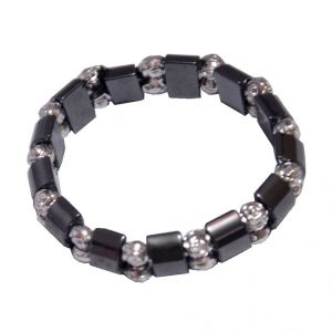 Men Style Square And Reactangle Beads Stretch Black Crystal Round Bracelet For Men And Women - (code - Sbr06026)
