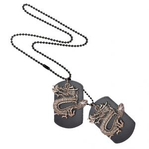 Men Style Filigree Heartdragon Beauty Dog Tag Silver Alloy 00 Pendent For Men And Women - (code - Spn06029)