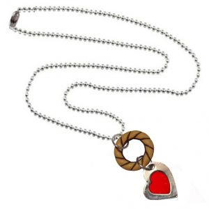 Pendants - Men Style Ring And Heart Red Brown Alloy Heart Circle Pendent For Men And Women - (Code - SPn06037)