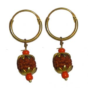 Men Style 2016 Medium Gold Plated Rudraksha Bali Gold Wood Piercing Hoop Earring For Men And Boy (product Code - Ser08001)