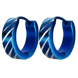 Men Style Classic New Design Blue 316 L Stainless Steel Round Hoop Earring For Men And Boy (product Code - Ser08006)