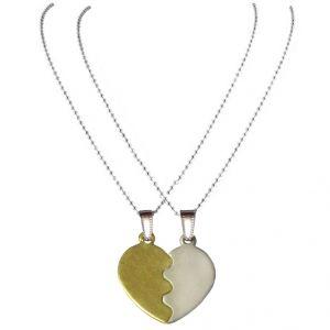 Men Style Hot Selling Split Broken Heart Friendship Necklace Gold And Silver Heart Pendant (Product Code - Set SPn08010)