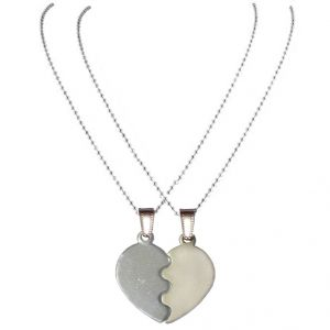 Men Style Top Selling Couple His And Her Broken Heart Shape Necklaces Steel And Silver Heart Pendant (product Code - Set Spn08012)