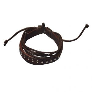Men Style Multilayer Studed With Cotton Dori Clasp Brown Genuine Leather Wrap Around Bracelet (product Code - Sbr08014)