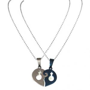 Men Style Hearts Lovers Couple (2 Pieces - His And Her) Blue And Silver Heart Pendant (product Code - Spn08026)